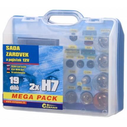 Osobní automobily - Žárovky 12V servisní box MEGA H7+H7+pojistky