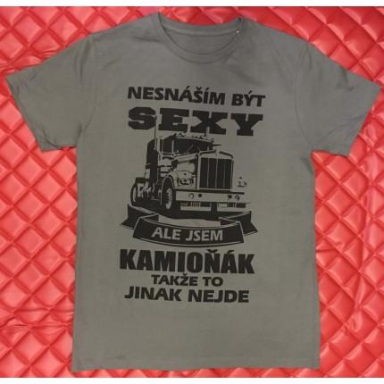 TIR, BUS a karavan - Sexy tričko TRUCK – šedé s černým potiskem